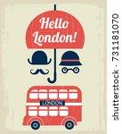 hello london cartoon vector... | Shutterstock .eps vector #731181070