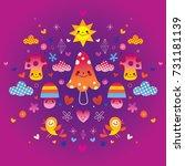 mushrooms  flowers  hearts  ... | Shutterstock .eps vector #731181139