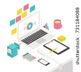 isometric business office... | Shutterstock .eps vector #731184088