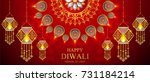 happy diwali festival card with ... | Shutterstock .eps vector #731184214
