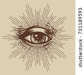 masonic symbol. seeing eye.... | Shutterstock .eps vector #731189593