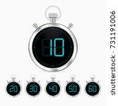 3d realistic stopwatch vector... | Shutterstock .eps vector #731191006