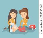 caucasian paramedics doing... | Shutterstock .eps vector #731191063