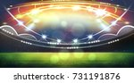 stadium in lights and flashes... | Shutterstock . vector #731191876
