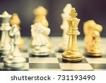 Small photo of Leader or winner / commander concept : Side view of a golden king chess piece with silver knight and others, align on black white 8 x 8 grid chessboard. Chess is a 2 players strategy board game.