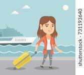 young caucasian passenger...   Shutterstock .eps vector #731193640