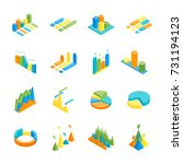 charts and graphs icon set 3d... | Shutterstock .eps vector #731194123