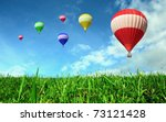 hot air balloons floating over... | Shutterstock . vector #73121428
