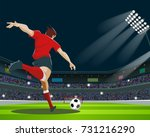 soccer player kicking ball in... | Shutterstock .eps vector #731216290