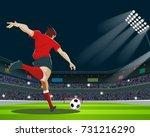 soccer player kicking ball in... | Shutterstock .eps vector #731216290