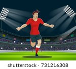 soccer player with ball in...   Shutterstock .eps vector #731216308