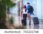 asian couple traveler walking... | Shutterstock . vector #731221768