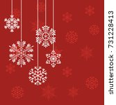 christmas snowflakes on a red... | Shutterstock .eps vector #731228413