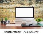 stylish workspace with desktop... | Shutterstock . vector #731228899