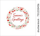 autumn leaves holiday wreath  ... | Shutterstock .eps vector #731233456