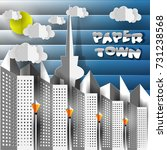paper city. houses  towers ...   Shutterstock .eps vector #731238568