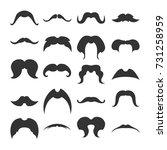 big set of mustaches black... | Shutterstock .eps vector #731258959