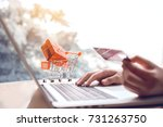 online shopping concept with... | Shutterstock . vector #731263750