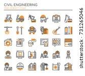 civil enginerring   thin line...   Shutterstock .eps vector #731265046