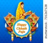 illustration of happy chhath... | Shutterstock .eps vector #731267128