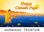 illustration of happy chhath... | Shutterstock .eps vector #731267158