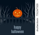 pumpkin head on the fence at... | Shutterstock .eps vector #731267320