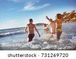 happy friends having fun at sea ... | Shutterstock . vector #731269720