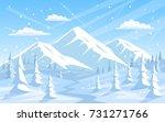 winter rocky mountains xmas... | Shutterstock .eps vector #731271766