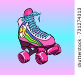 vintage  retro quad roller... | Shutterstock .eps vector #731274313