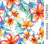 seamless tropical floral... | Shutterstock . vector #731279023
