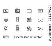 cinema icon set vector | Shutterstock .eps vector #731279224