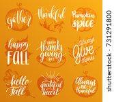 vector thanksgiving lettering... | Shutterstock .eps vector #731291800