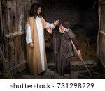 jesus healing the lame or... | Shutterstock . vector #731298229