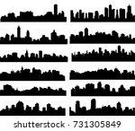 modern city skyline set  vector | Shutterstock .eps vector #731305849