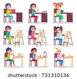 children prepare homework ... | Shutterstock .eps vector #731310136