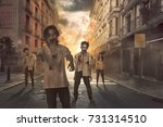 group of asian scary zombies... | Shutterstock . vector #731314510