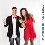 elegant couple v for success ... | Shutterstock . vector #731318620