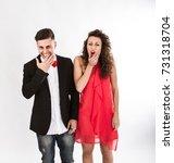 elegant couple laughing  light... | Shutterstock . vector #731318704