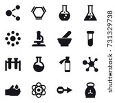 16 vector icon set   molecule ... | Shutterstock .eps vector #731329738