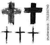 set of hand drawn crosses.... | Shutterstock .eps vector #731330740