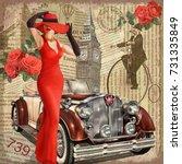vintage poster london torn... | Shutterstock .eps vector #731335849