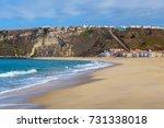 view of praia da nazare beach....   Shutterstock . vector #731338018