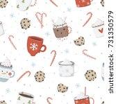 christmas elements seamless... | Shutterstock .eps vector #731350579