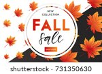 autumn sale flyer template with ... | Shutterstock .eps vector #731350630