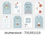 collection of 8 cute merry... | Shutterstock .eps vector #731351113