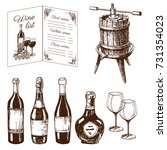 vintage winery wine production... | Shutterstock .eps vector #731354023