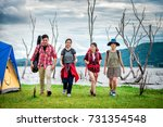 travel group of friends walking ... | Shutterstock . vector #731354548