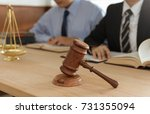 judge gavel with lawyers having ... | Shutterstock . vector #731355094