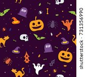 halloween pattern seamless... | Shutterstock .eps vector #731356990