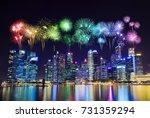 beautiful firework over central ... | Shutterstock . vector #731359294